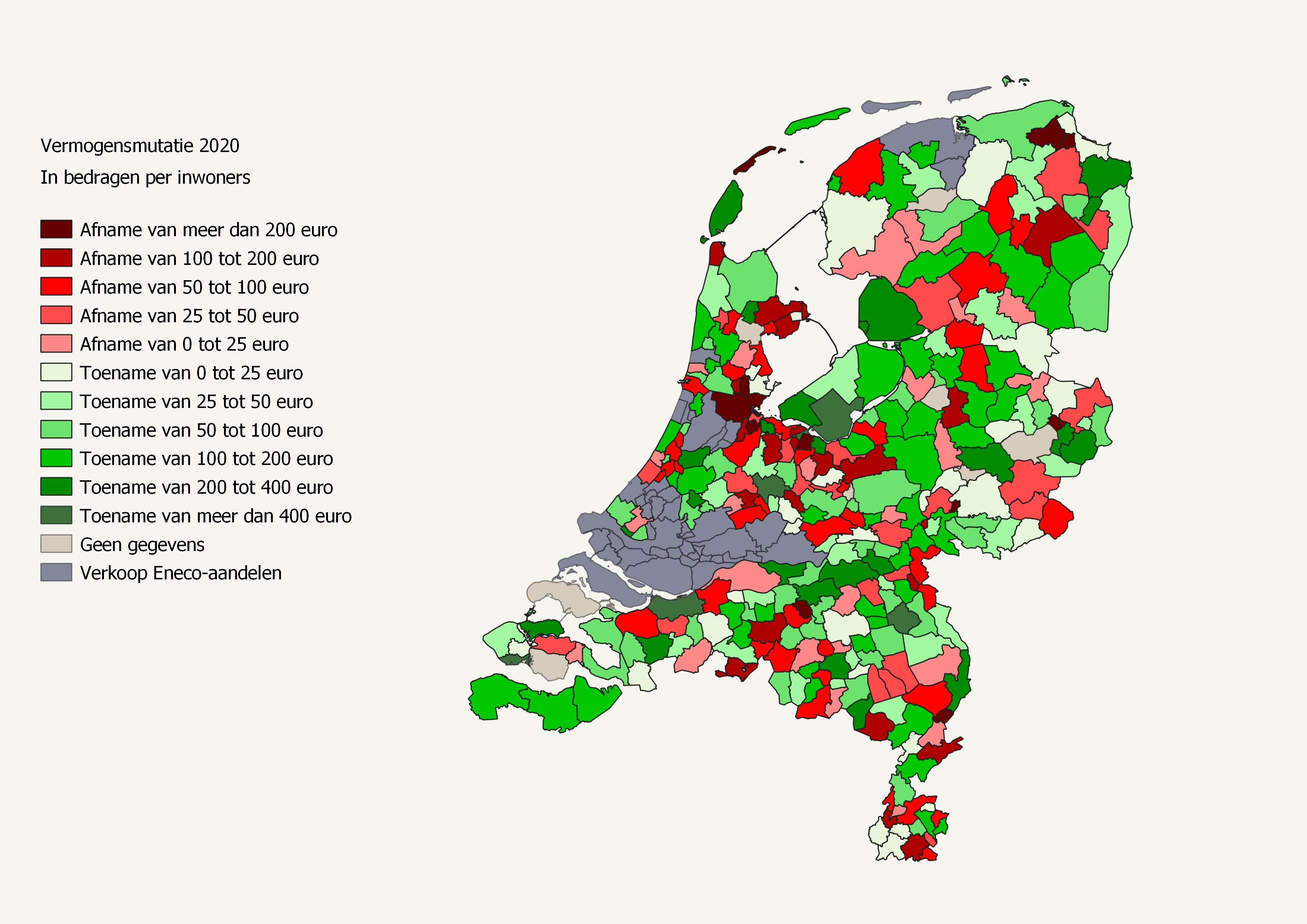 Afbeelding van de vermogensmutatie 2020 Nederlandse gemeenten